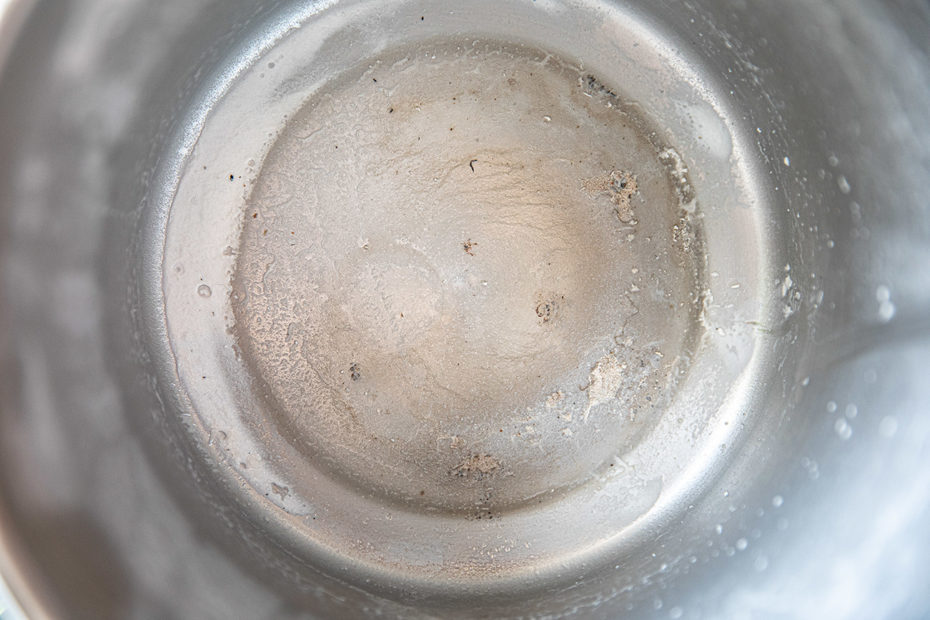Residue after distilling tap water