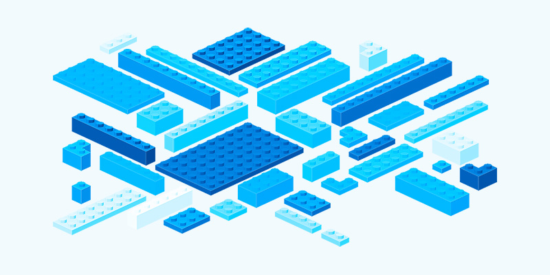 Illustration representing Lego building blocks. The lego blocks are coloured in a blue hue, to remind you of water.